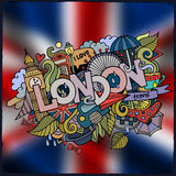 London hand lettering and doodles elements Royalty Free Stock Images