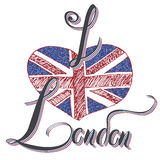 London hand lettering sign with grunge united kingdome flag in shape of heart, isolated on white background vector Illustration Royalty Free Stock Photos