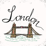 London hand lettering and Tower Bridge. Vector illustration. The hand drawn letters. Lettering and typographic design. Vector desi Royalty Free Stock Photography