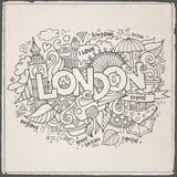 London-Handbeschriftung und Gekritzelelemente Stockfotografie