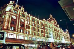 London, Harrods at night in Christmas Stock Image