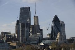 City of London skyline with the new buildings. London has nice modern architectures in the city center Royalty Free Stock Photo