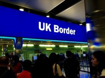 London Heathrow Airport UK Border. Waiting in the queue royalty free stock image