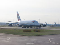 Airbus A380 at London Heathrow airport Stock Photo