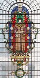 London - helgonmartyren Thomas More på målat glass i kyrkaSt Lawrence Jewry Royaltyfri Fotografi