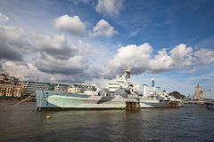 HMS Belfast. London, HMS Belfast on the pier royalty free stock photos