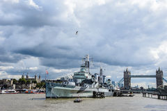 London, HMS Belfast and tower bridge Royalty Free Stock Images