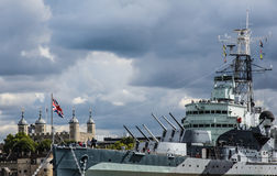 London, HMS Belfast the tower Royalty Free Stock Photography