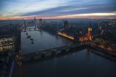 London horisont, inkluderar stora ben Arkivbilder