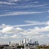 London horisont, kanariefågelhamnplats royaltyfria bilder