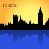 London horisont, vektorillustration i den plana designen för webbplatser, Infographic design Arkivfoto