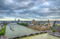 London horisontlandskap med Big Ben, slott av Westminster, London öga, Westminster bro, flodThemsen, London, England, UK Royaltyfri Bild