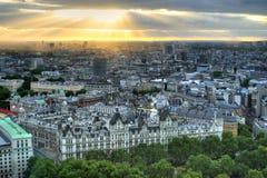 London horisontlandskap med Big Ben, slott av Westminster, London öga, Westminster bro, flodThemsen, London, England, UK Arkivbilder