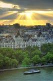 London horisontlandskap med Big Ben, slott av Westminster, London öga, Westminster bro, flodThemsen, London, England, UK Arkivfoto