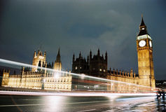 London, Houses of Parliament at night. Night view of  Westminster palace, the english parliament, in London Stock Images