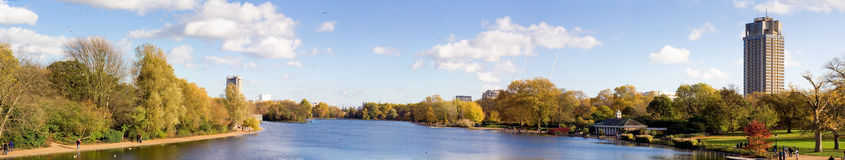 London Hyde park summer panorama view. From serpentine river stock images