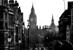 London icon, The Big Ben in black & white Stock Image
