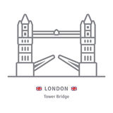 London icon with Tower Bridge and British flag Royalty Free Stock Image