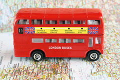 London iconic double decker bus. City on Great  Britain map Royalty Free Stock Photos