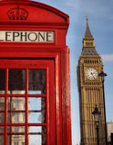 London Icons. London Scene with Big Ben and Telephone Box Stock Image