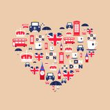 London icons arrange in the form of heart. England icon. London icons in flat style arrange in the form of heart. England icons isolated on background. Vector Royalty Free Stock Photos