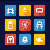 London Icons Flat Design Stock Photos