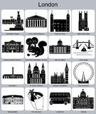 London icons. Landmarks of London. Set of monochrome icons. Editable vector illustration Stock Photo
