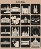 London icons. Landmarks of London. Set of monochrome icons. Editable vector illustration Royalty Free Stock Photography