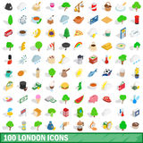 100 london icons set, isometric 3d style. 100 london icons set in isometric 3d style for any design vector illustration Stock Photo