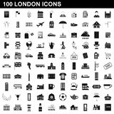 100 london icons set, simple style. 100 london icons set in simple style for any design illustration stock illustration