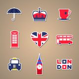 London Icons set Stickers. Vector illustration. London Icons set Stickers. Vector illustration Royalty Free Stock Images