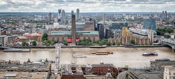 London Icons, Tate Modern, Millennium Bridge , River Thames. From st pauls roof Royalty Free Stock Photo