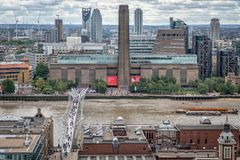 London Icons, Tate Modern, Millennium Bridge , River Thames. From st pauls roof stock photography