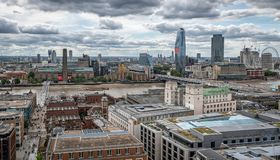 London Icons, Tate Modern, Millennium Bridge , River Thames. From st pauls roof Royalty Free Stock Images