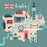 London illustrated map vector. Abstract atlas poster. Illustrated abstract map of London, England stock illustration