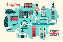 London illustrated map vector. Abstract colorful atlas poster. Illustrated abstract map of London, England royalty free illustration