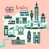 London illustrated map vector. Skyline silhouette Illustration, pink and gray color. Abstract colorful atlas poster. Illustrated abstract map of London stock illustration