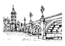 London. Illustration of London. Westminster Bridge. Big Ben vector illustration