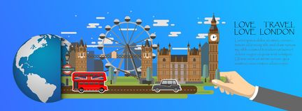 London infographic , global with landmarks of England ,flat style.Love travel love London. Stock Illustration