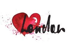 London inskrift med hjärta Fotografering för Bildbyråer