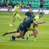 The London Irish and Northampton Saints Rugby 7 S. Premiership Series at Northampton Franklins Garden stock images