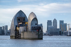 LONDON - JAN 10 : View of the Thames Barrier in London on Jan 10. 2016 Stock Images