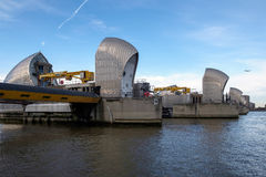 LONDON - JAN 10 : View of the Thames Barrier in London on Jan 10 Stock Image