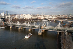 LONDON - JANUARY 27 : Hungerford Bridge in London on January 27, Royalty Free Stock Image