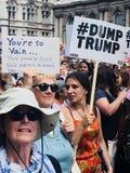 London 14 Juli 2018 Protestmarsch om besök för presidenttrumf` s till UK Arkivbild