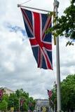 LONDON - JULI 30: Union Jack på den rittLondon händelsen i London Arkivfoto