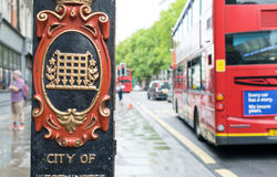 LONDON - JULY 2, 2015: City of Westminster sign in London with r Stock Photography