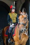 LONDON - JULY 30 : Kings Troop Royal Horse Artillery in Whitehal. L London on July 30, 2017. Unidentified man Stock Photo