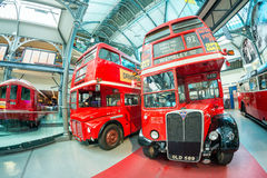 LONDON - JULY 2, 2015: Old double decker buses at transportation. Museum. These buses are now replaced by the new ones Stock Photo