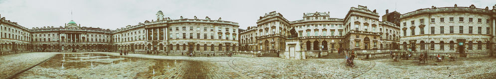 LONDON - JULY 2015: Somerset House panoramic view.It is a large. Neoclassical building (design Sir William Chambers, 1776) in central London Royalty Free Stock Images